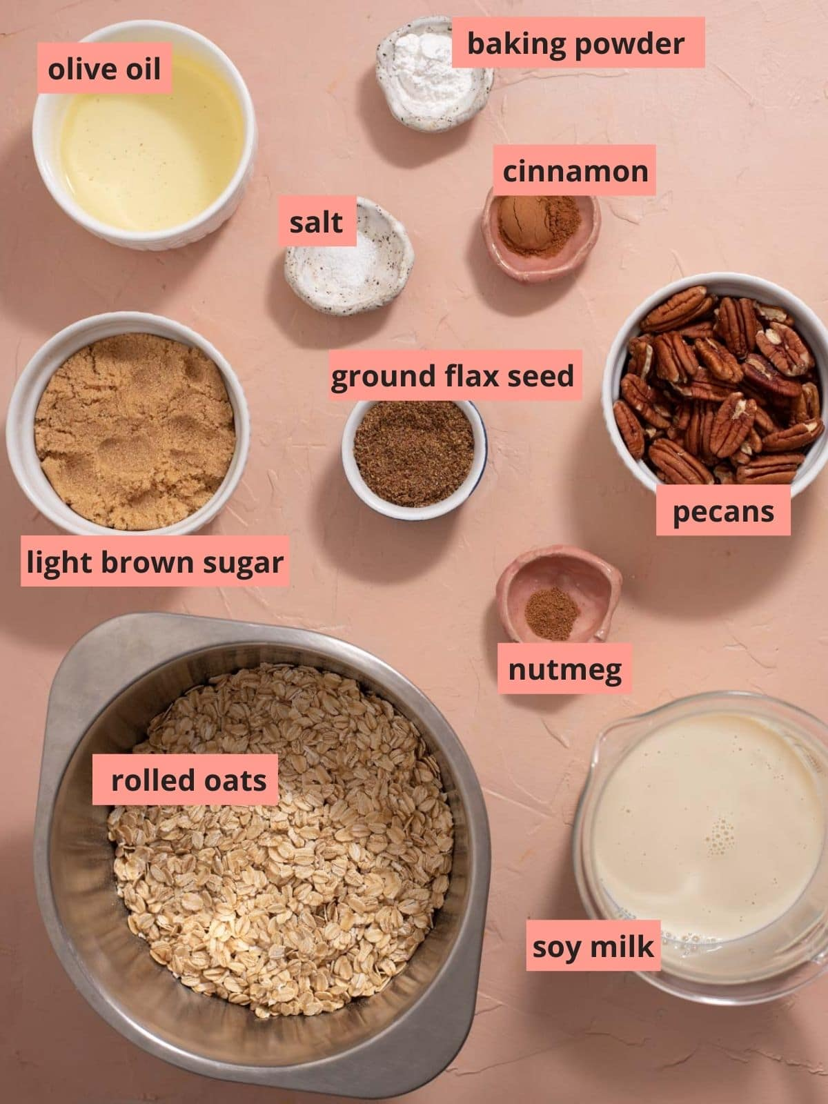 Labeled ingredients used to make baked oatmeal