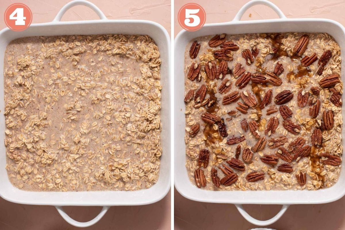 Steps 4 and 5 to make baked oatmeal