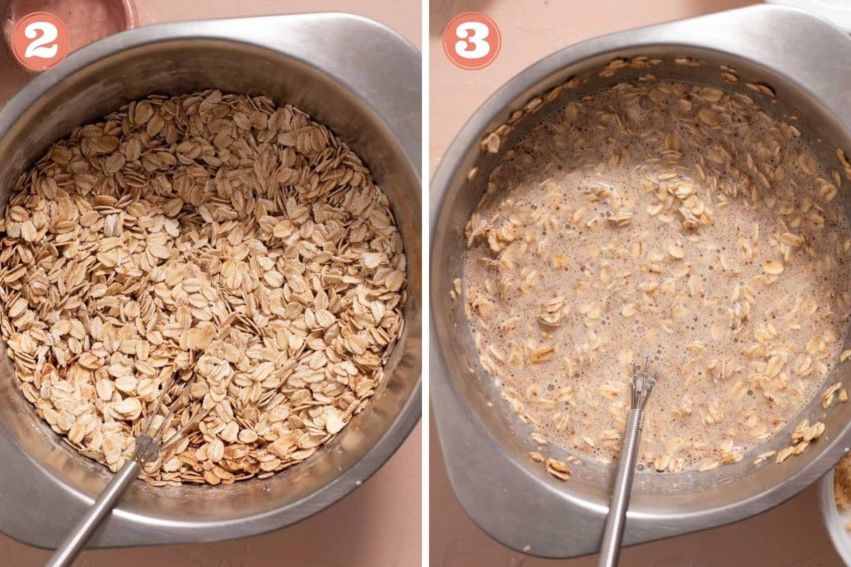 Steps 2 and 3 to make baked oatmeal