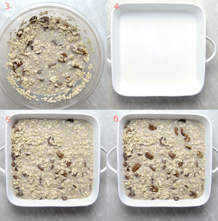 Step 2 through 6 showing how to make baked pecan oatmeal