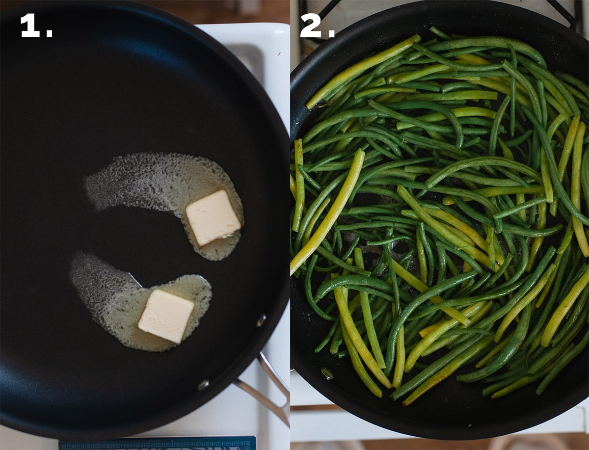 Step 1 showing melting butter. Step 2 showing sauteing green beans.