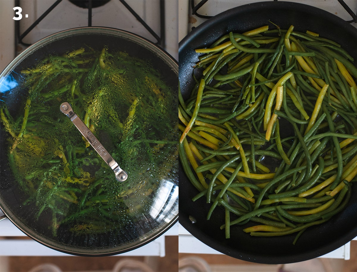 Step 3 showing green beans in pan covered with a lid