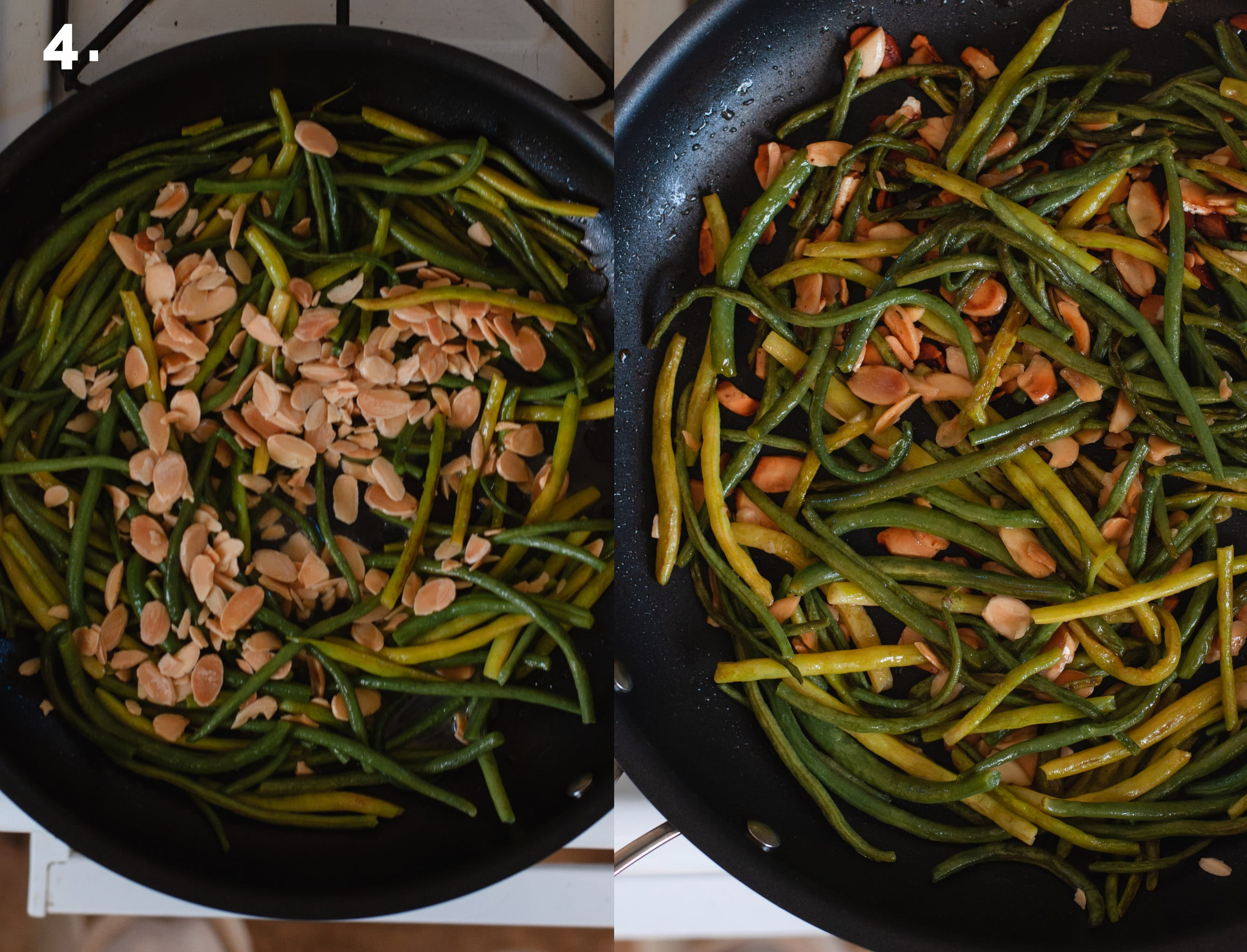 Step 4 showing green beans topped with sliced almonds