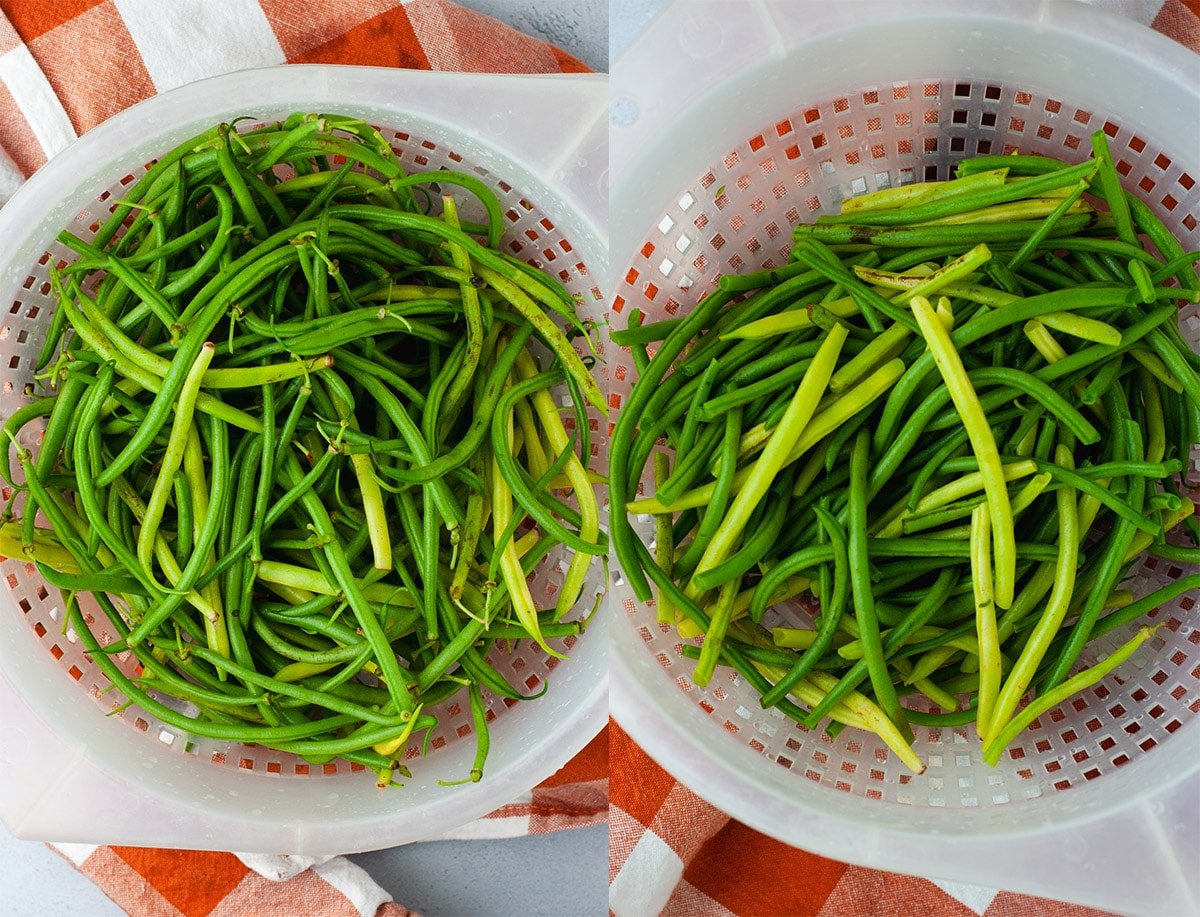 Green beans in a plastic colander before and after being trimmed