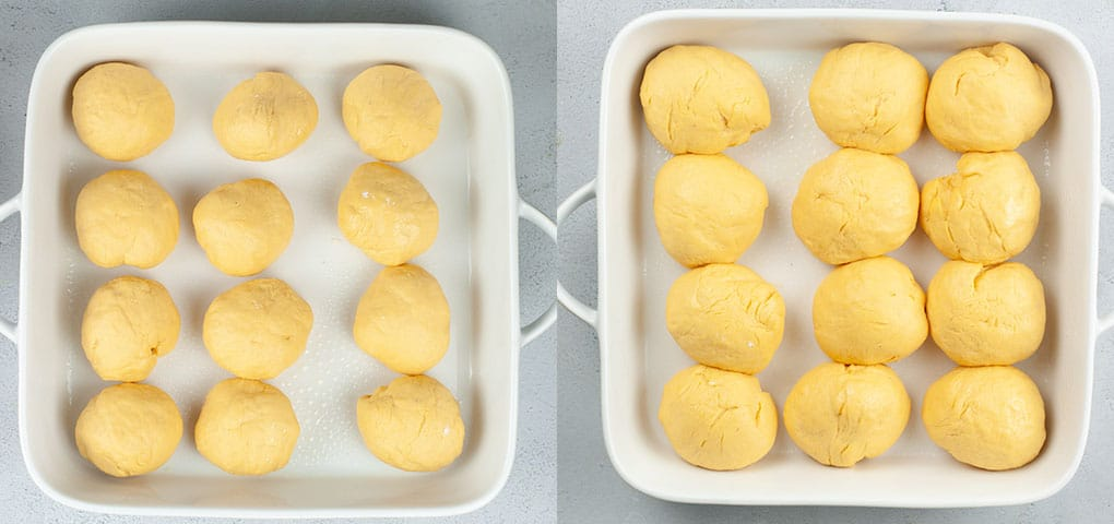 Before and after showing sweet potato rolls doubled in size