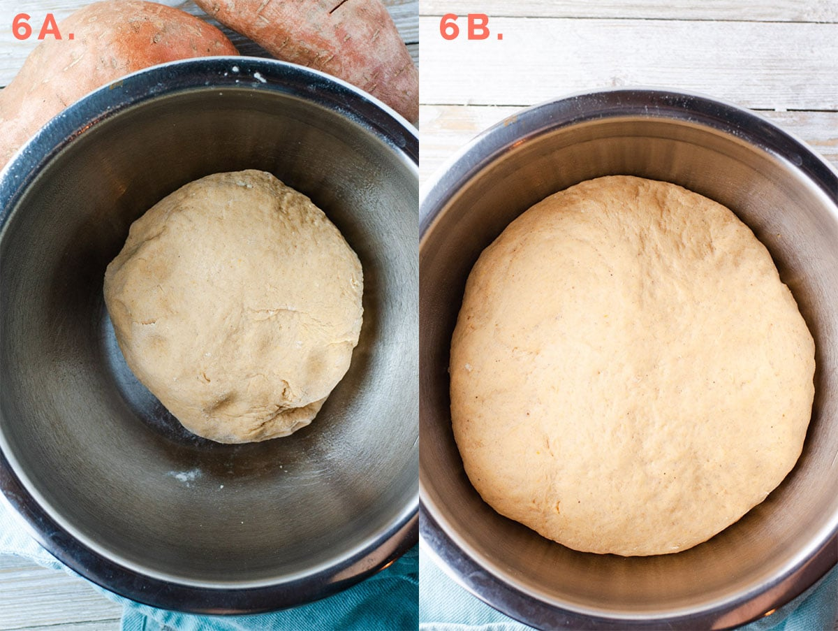 Step 6A showing dough after kneading. Step 6B showing dough doubled in size in a metal mixing bowl.