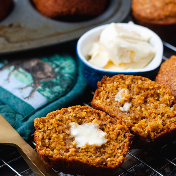 Cornbread muffin with melting butter