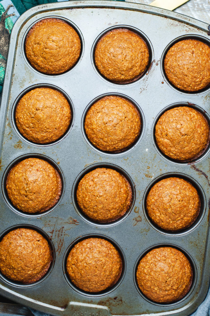 Overhead view of muffins in a muffin metal muffin tin