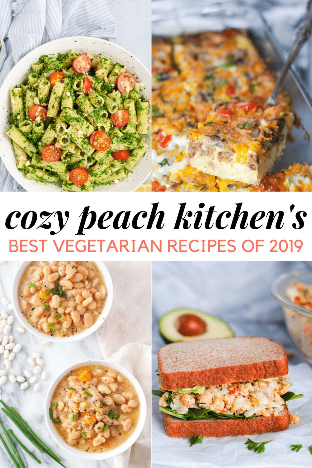 """Graphic showing food and """"cozy peach kitchen's best vegetarian recipes of 2019"""""""