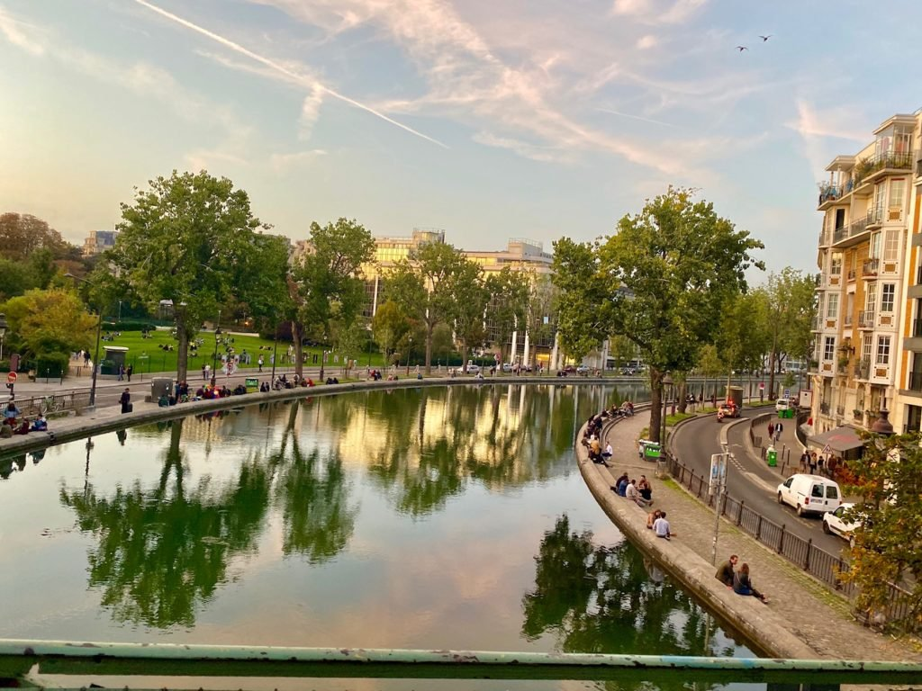 Canal in Paris at sunset