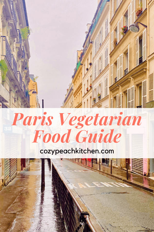 """Pin image showing city block with text """"Paris Vegetarian Food Guide"""""""