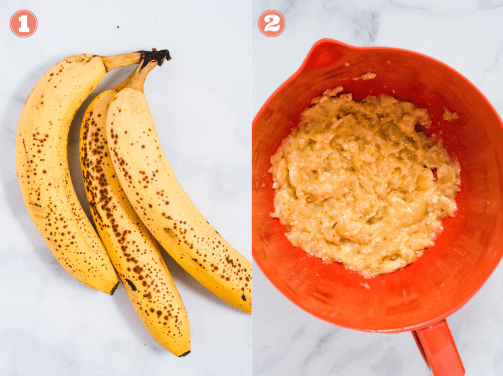 Image showing ripe bananas with brown spots and mashed banana in an orange bowl