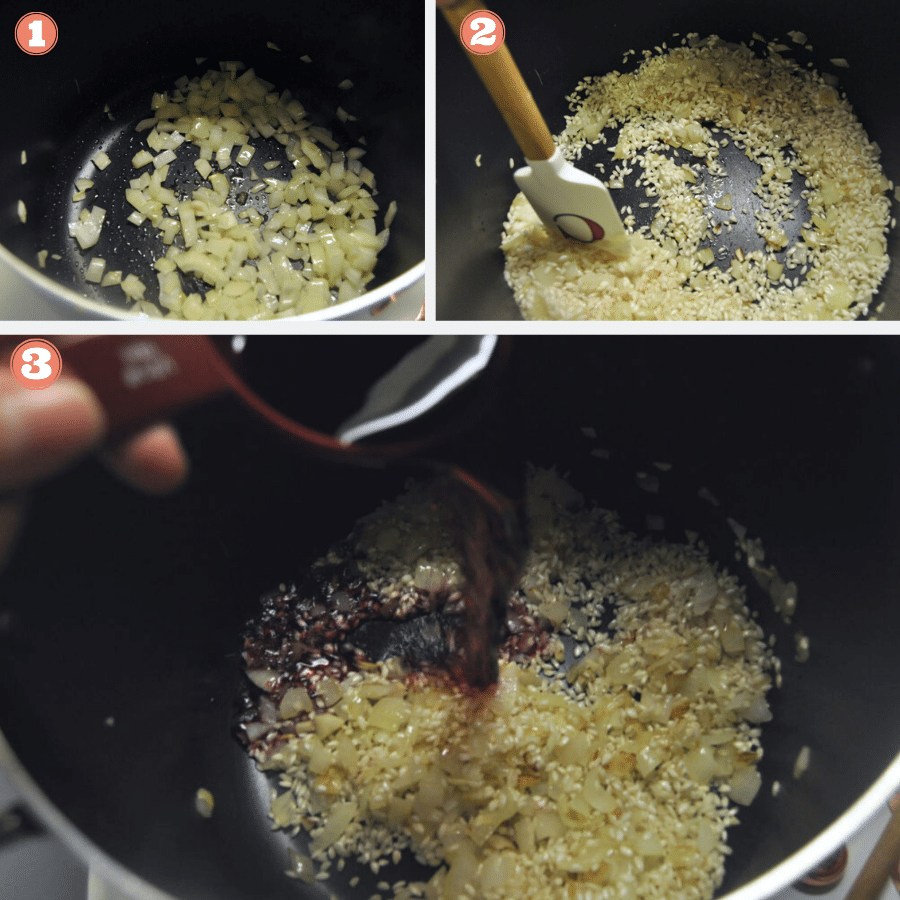 Steps 1 through 3 to make risotto