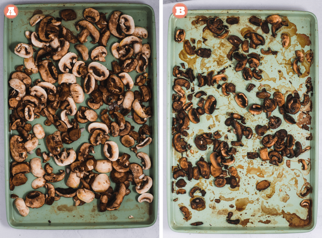 Before and after roasting sliced mushrooms on a green sheet pan