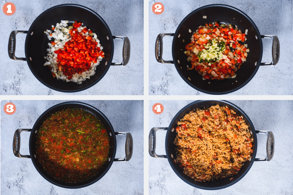 Steps 1 through 4 for making rice and beans