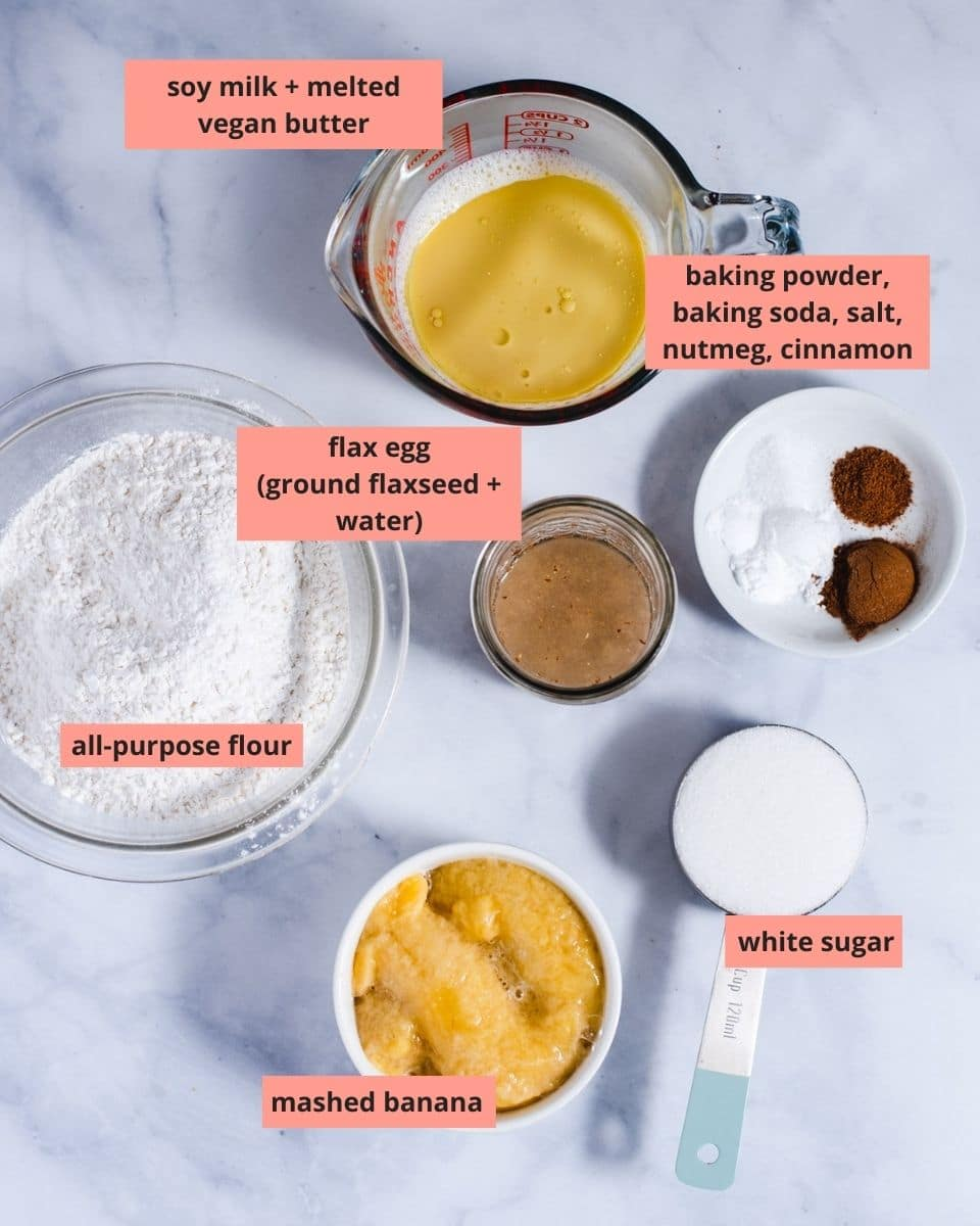 Labeled ingredients used to make banana muffins
