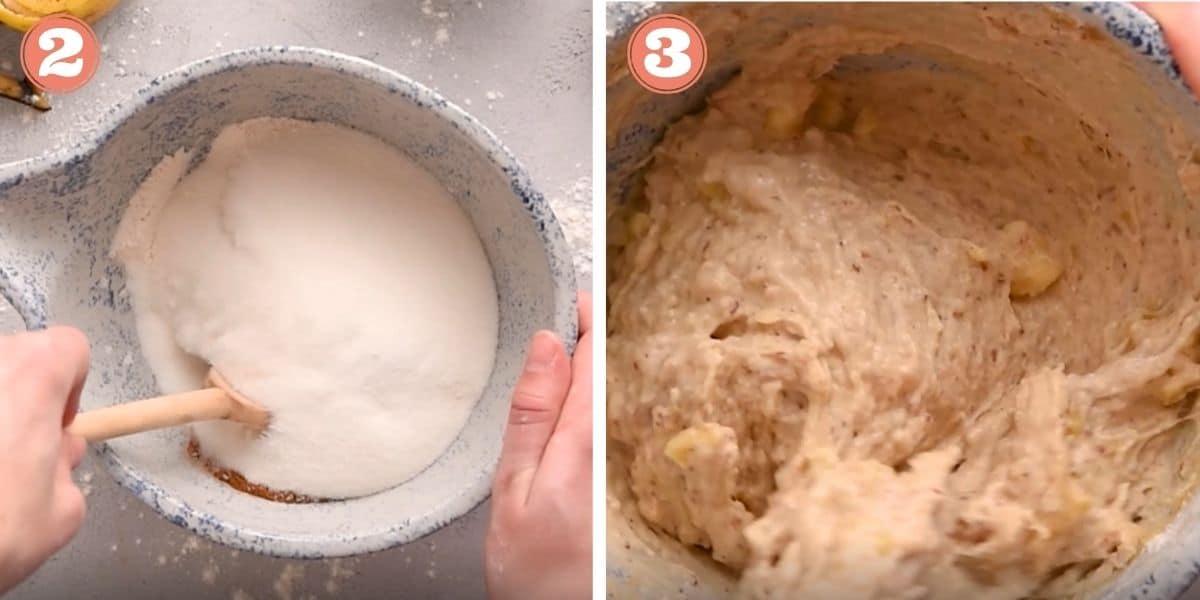 Steps 2 and 3 to make banana muffins