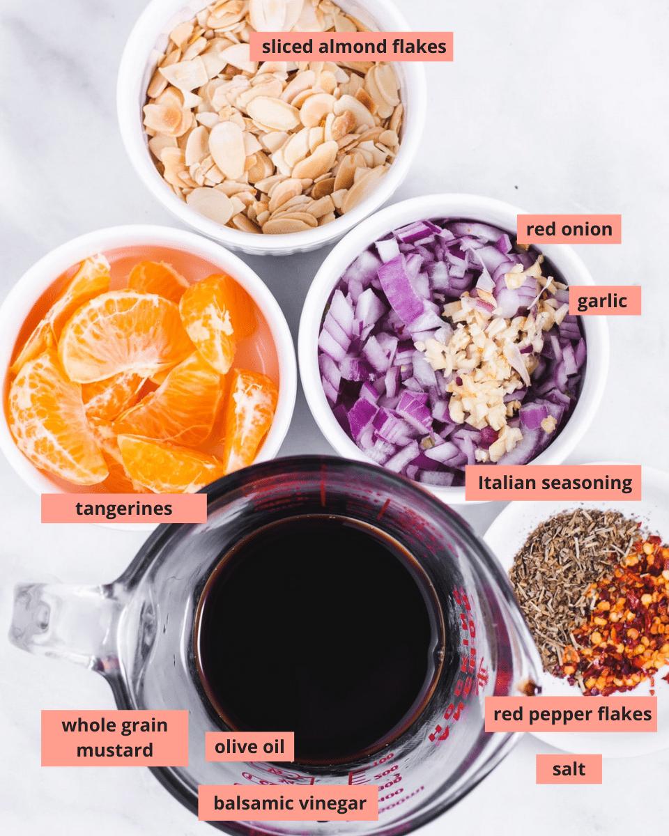 Labeled ingredients used to make salad marinade
