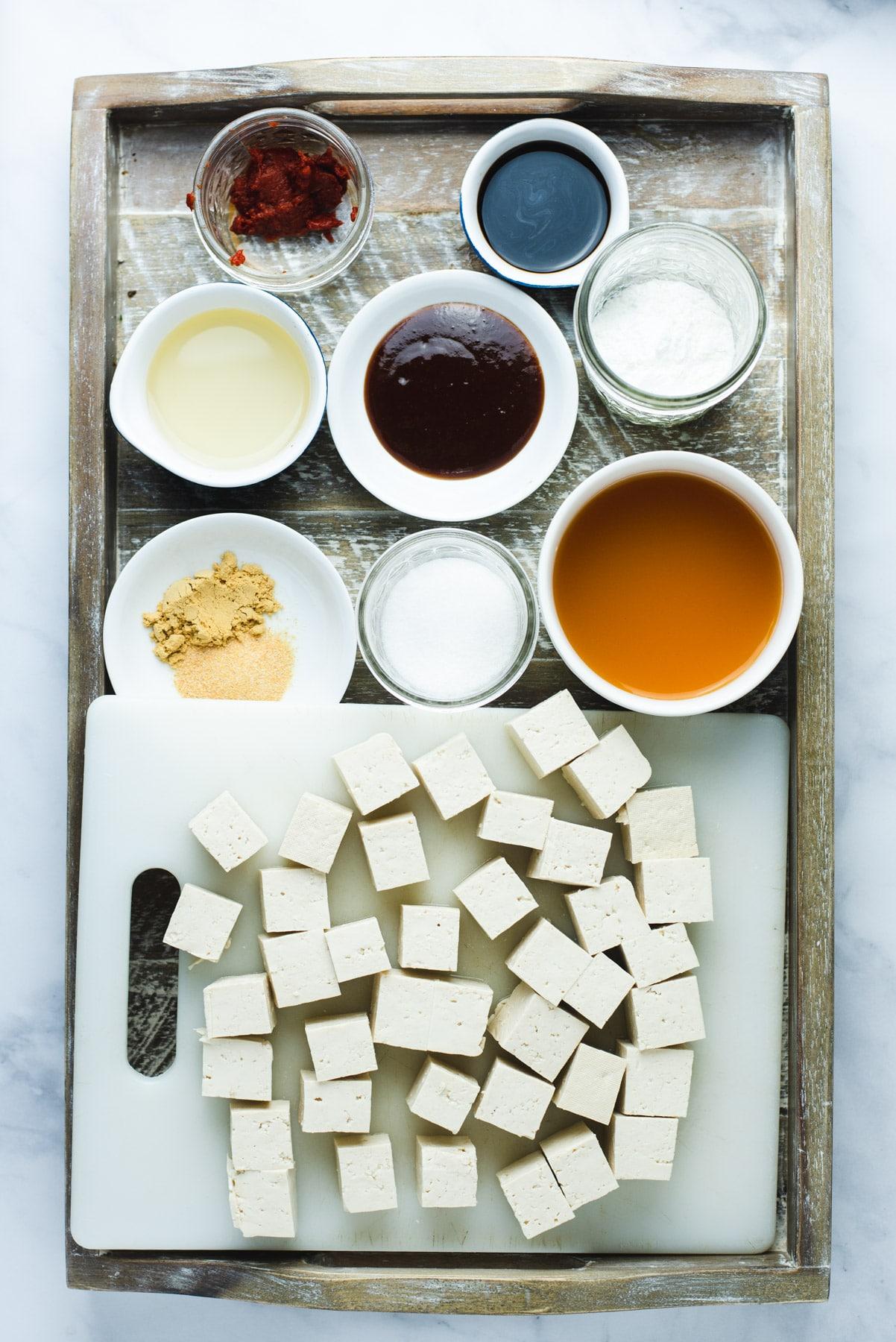 Ingredients used to make general tso tofu
