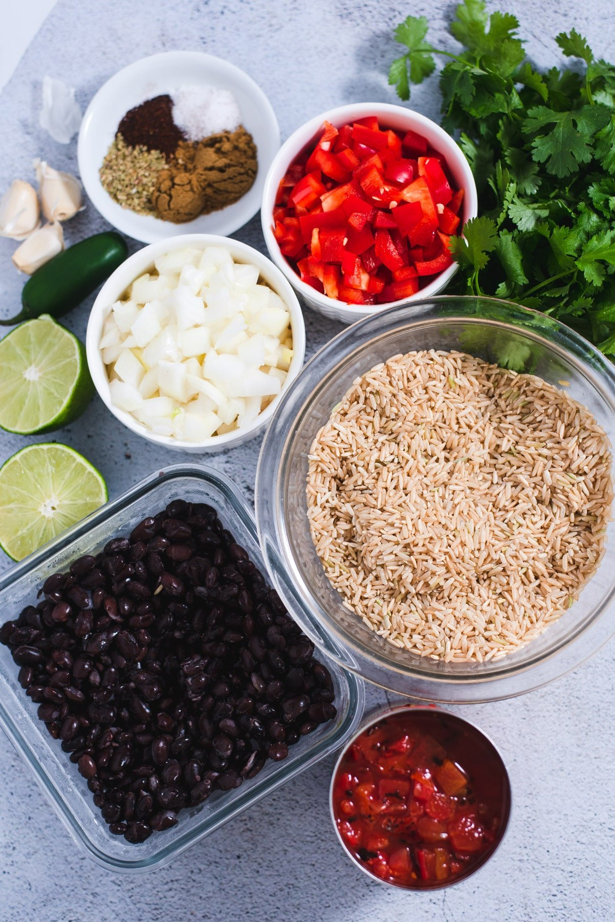 Ingredients used to make rice and beans