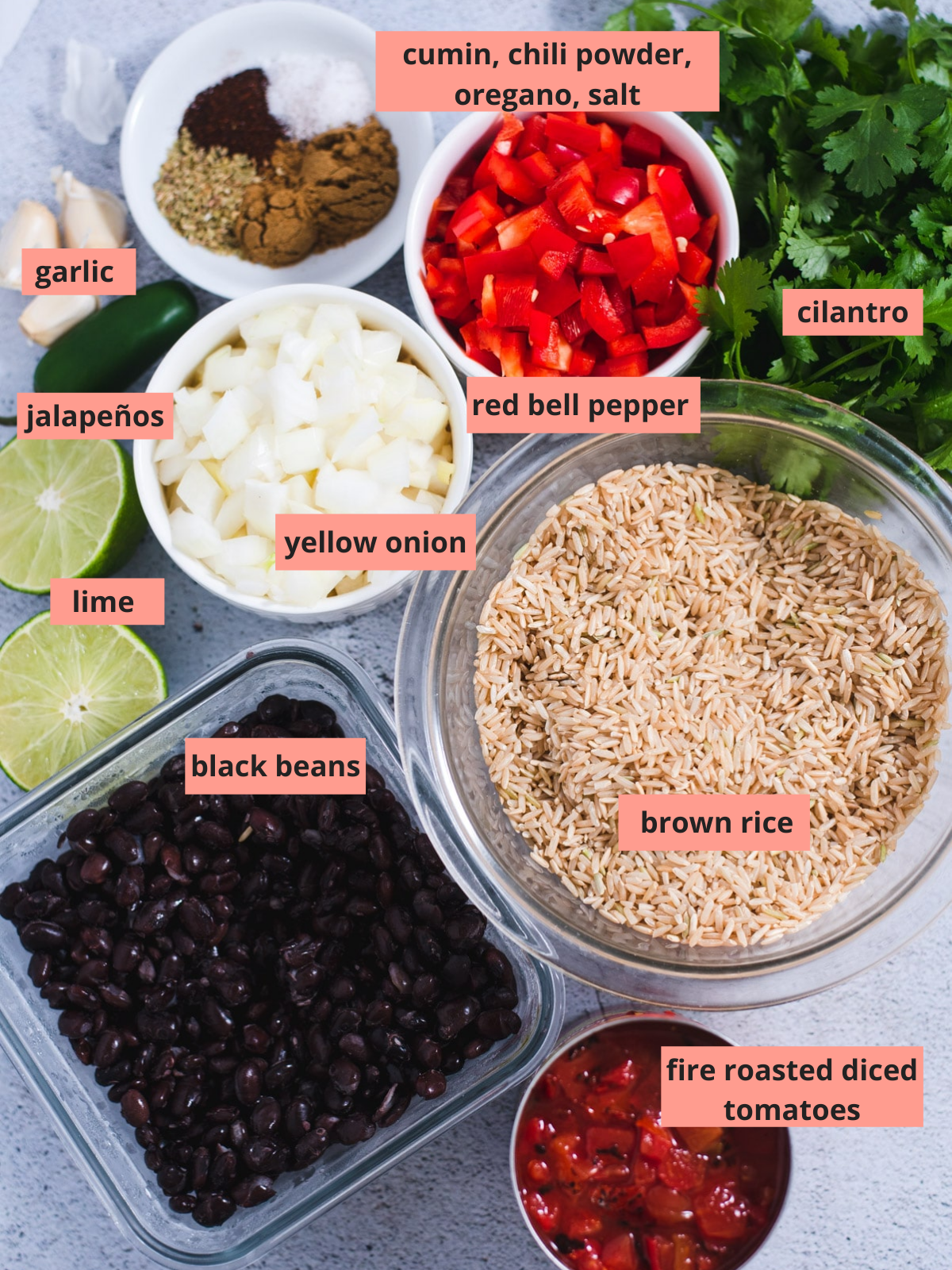 Labeled ingredients used to make rice and beans