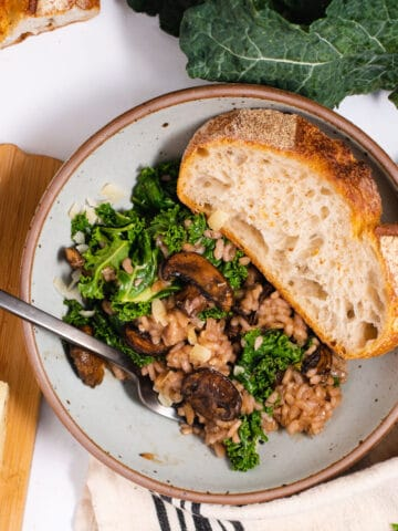 Bowl filled with risotto and wedge of bread