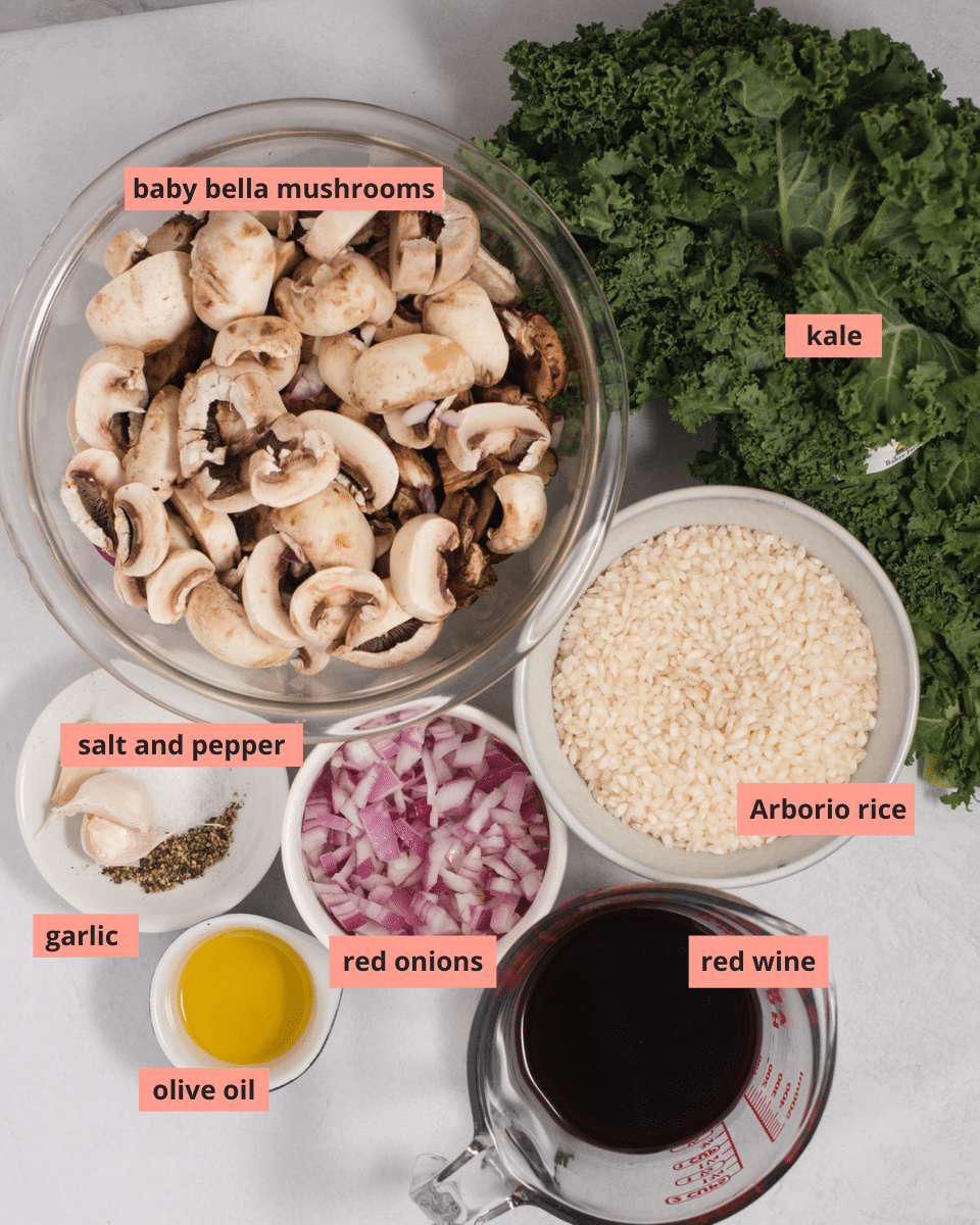 Labeled ingredients used to make risotto