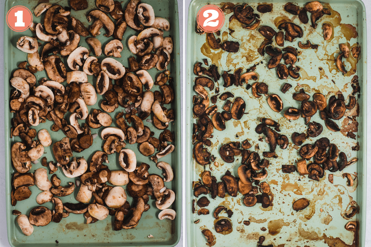 Steps 1 and 2 to make roasted mushrooms
