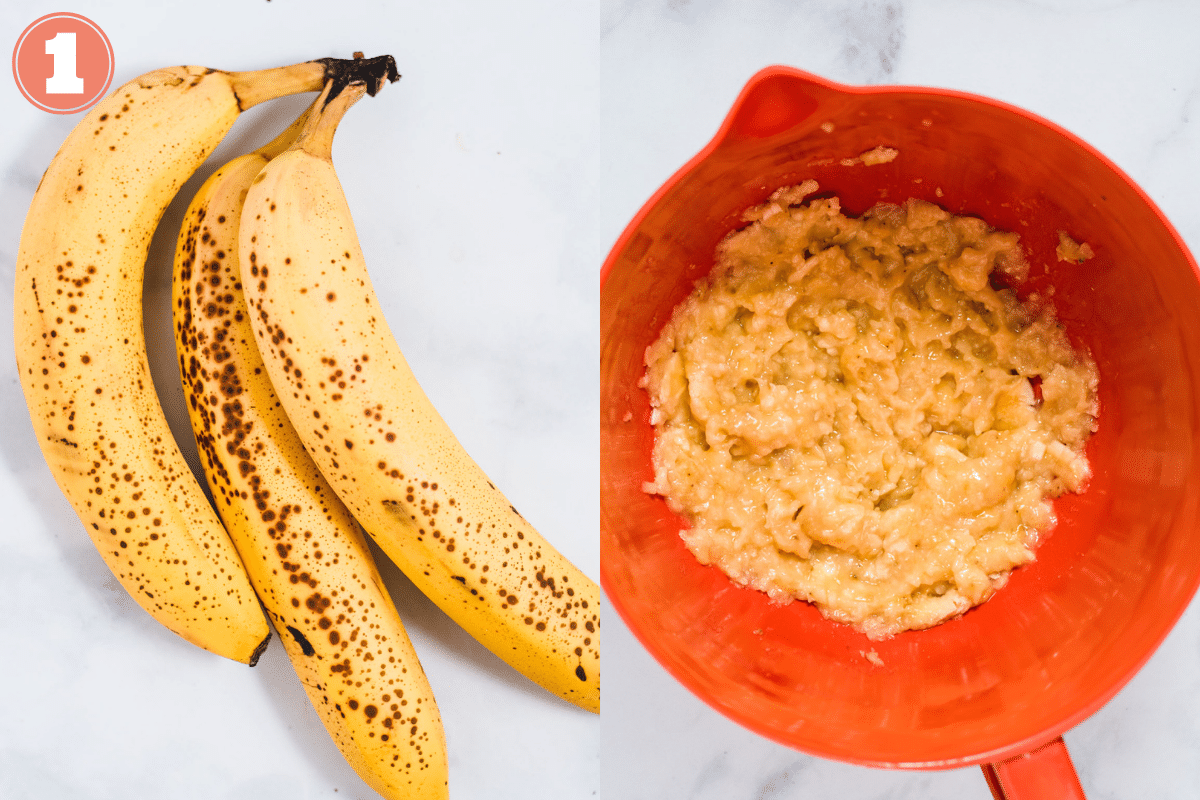 Ripe bananas and mashed bananas in orange bowl