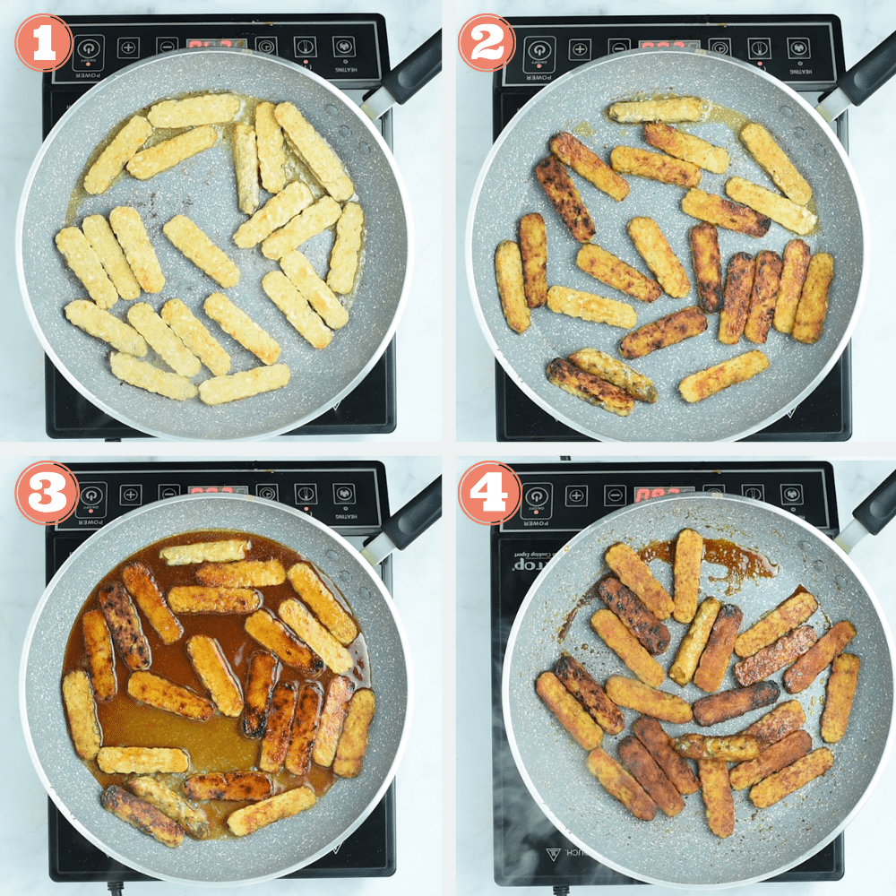 Steps 1 through 4 to pan fry tempeh bacon
