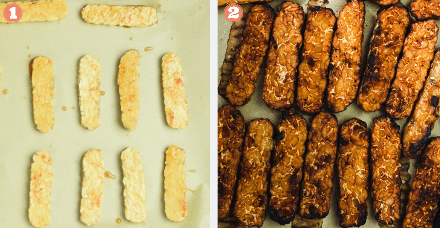 Left image shows uncooked tempeh on parchment paper. Right image shows baked tempeh.