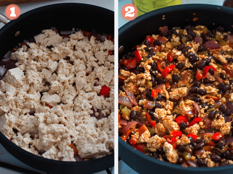 Steps 1 and 2 showing how to make black bean and tofu filling
