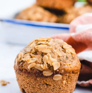 Close up of texture of oat topped muffin