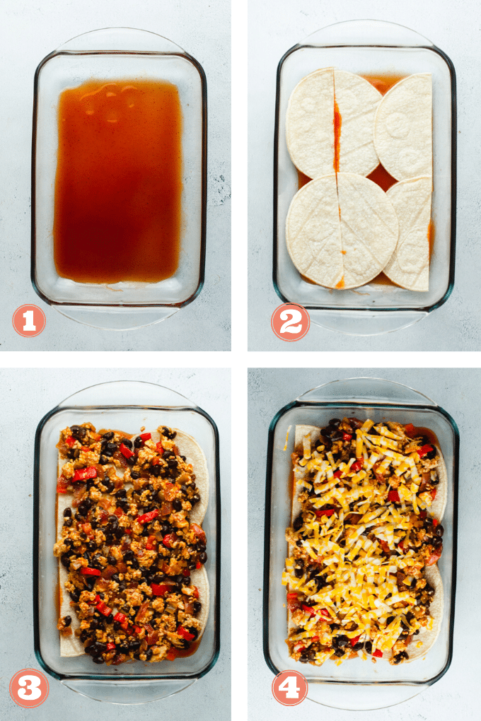 Steps 1 through 4 showing how to assemble enchilada casserole.