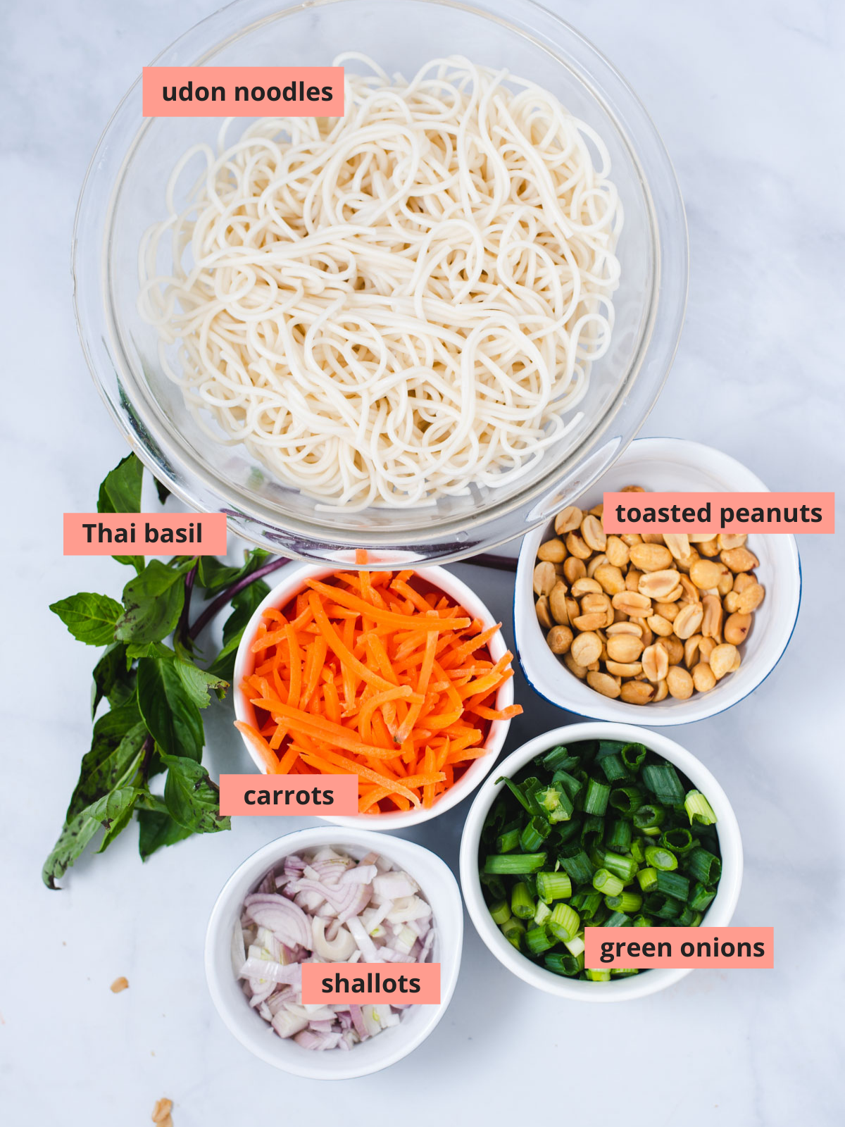 Labeled ingredients to make noodle salad
