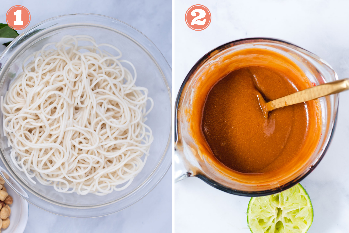 Steps 1 and 2 to make peanut noodles