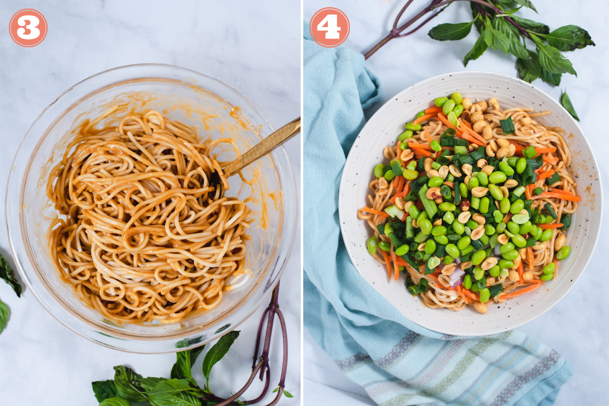 Steps 3 and 4 to make peanut noodles