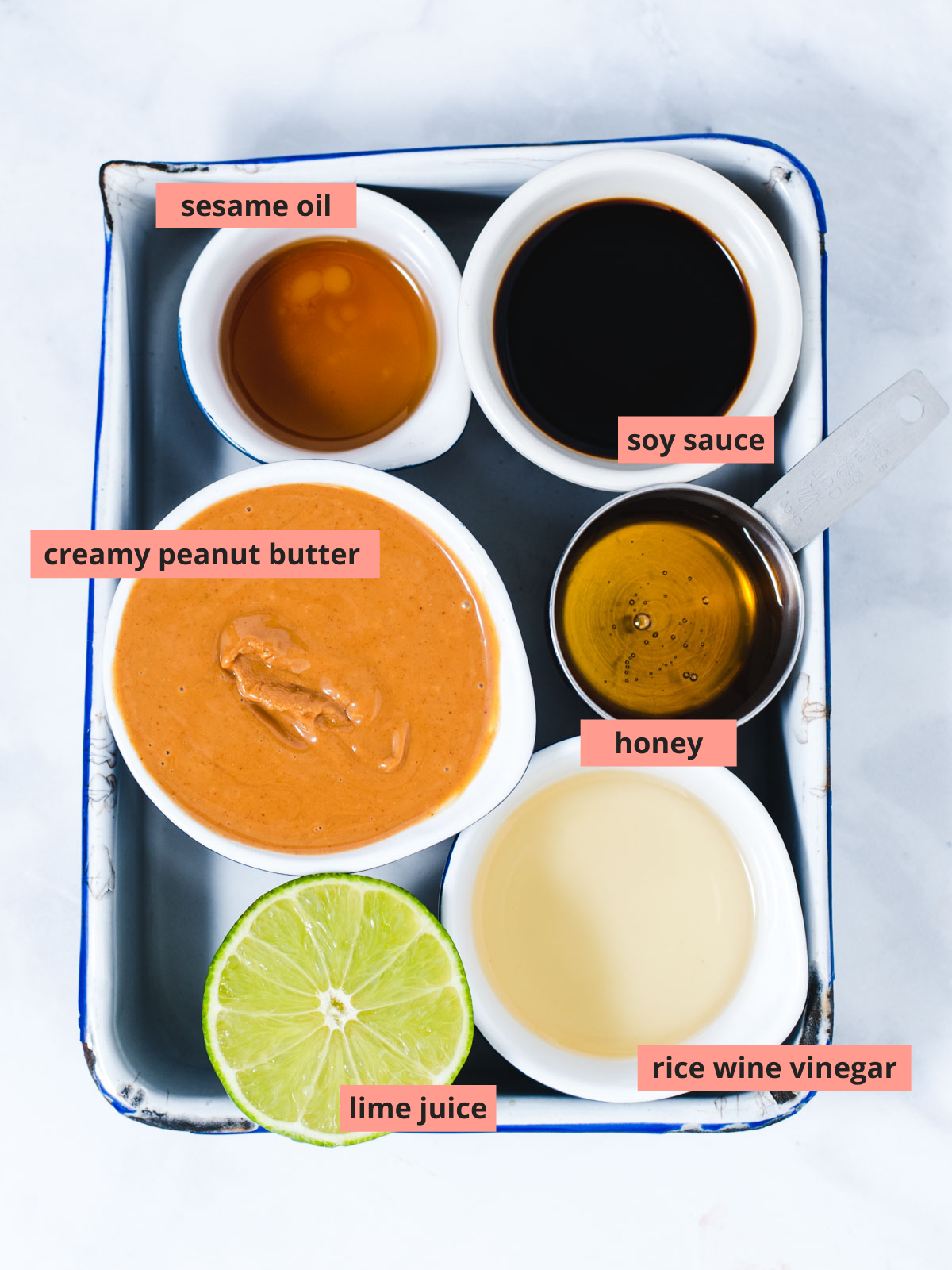 Labeled ingredients to make peanut sauce