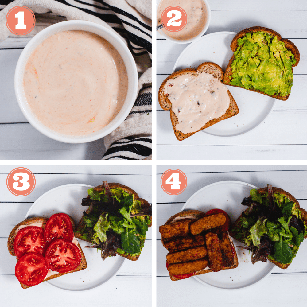 Steps 1 through 4 to assemble sandwiches