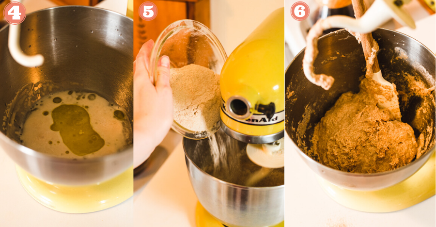 Steps 4, 5 and 6 showing dough being made in a yellow stand mixer