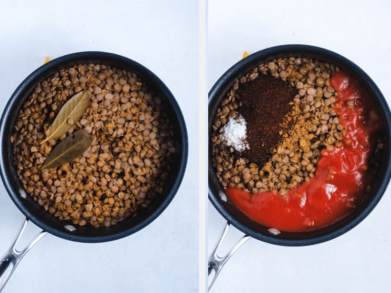 Cooked lentils topped with tomato sauce and spices before mixing