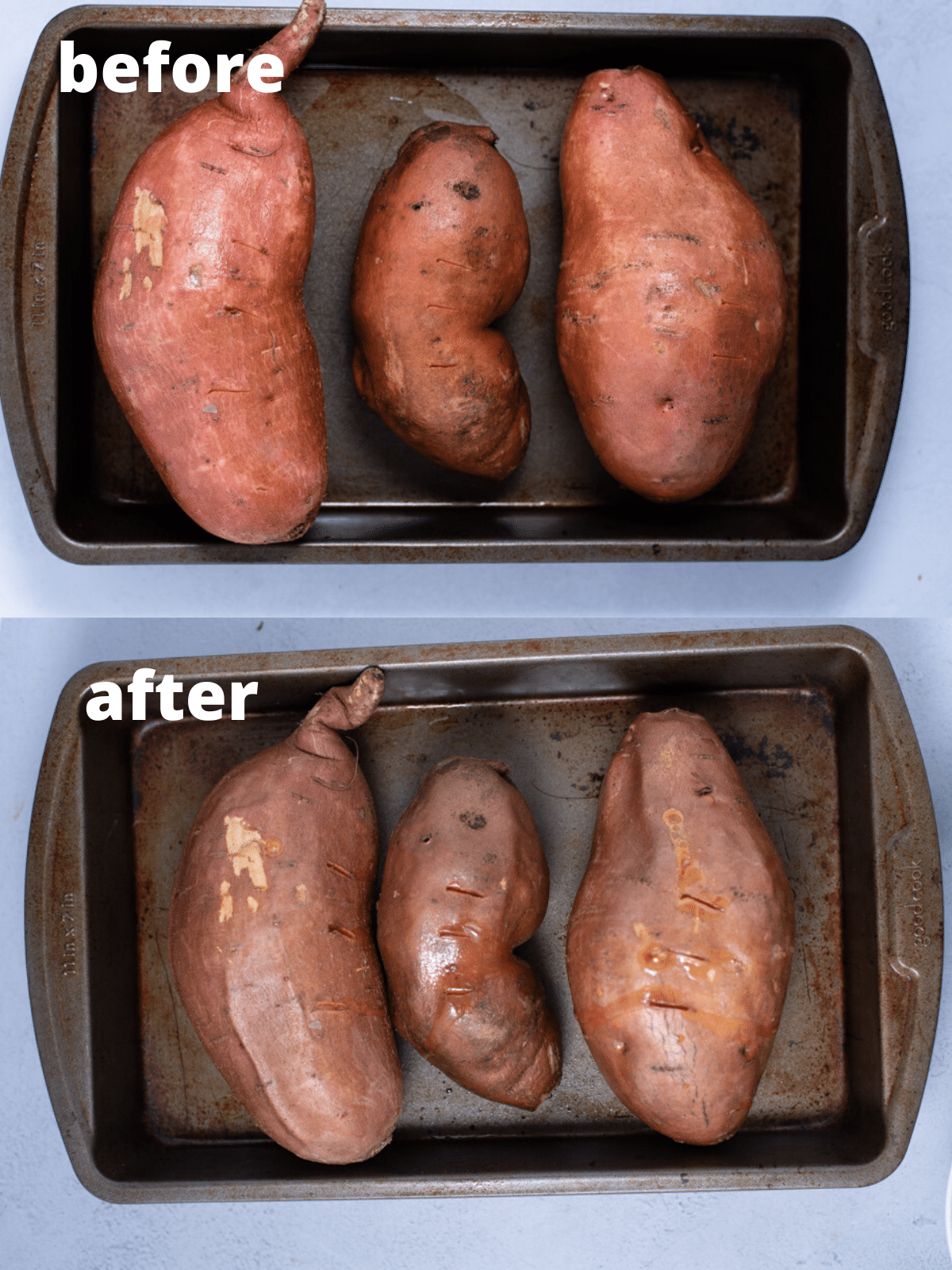 Three sweet potatoes on a metal pan before and after baking