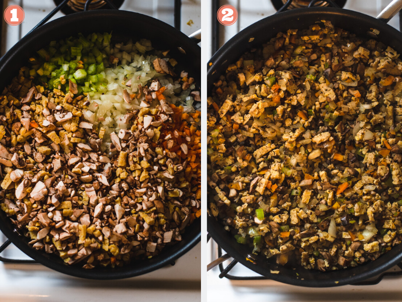 Mirepoix, tempeh and mushrooms in a large black skillet before and after sauteing