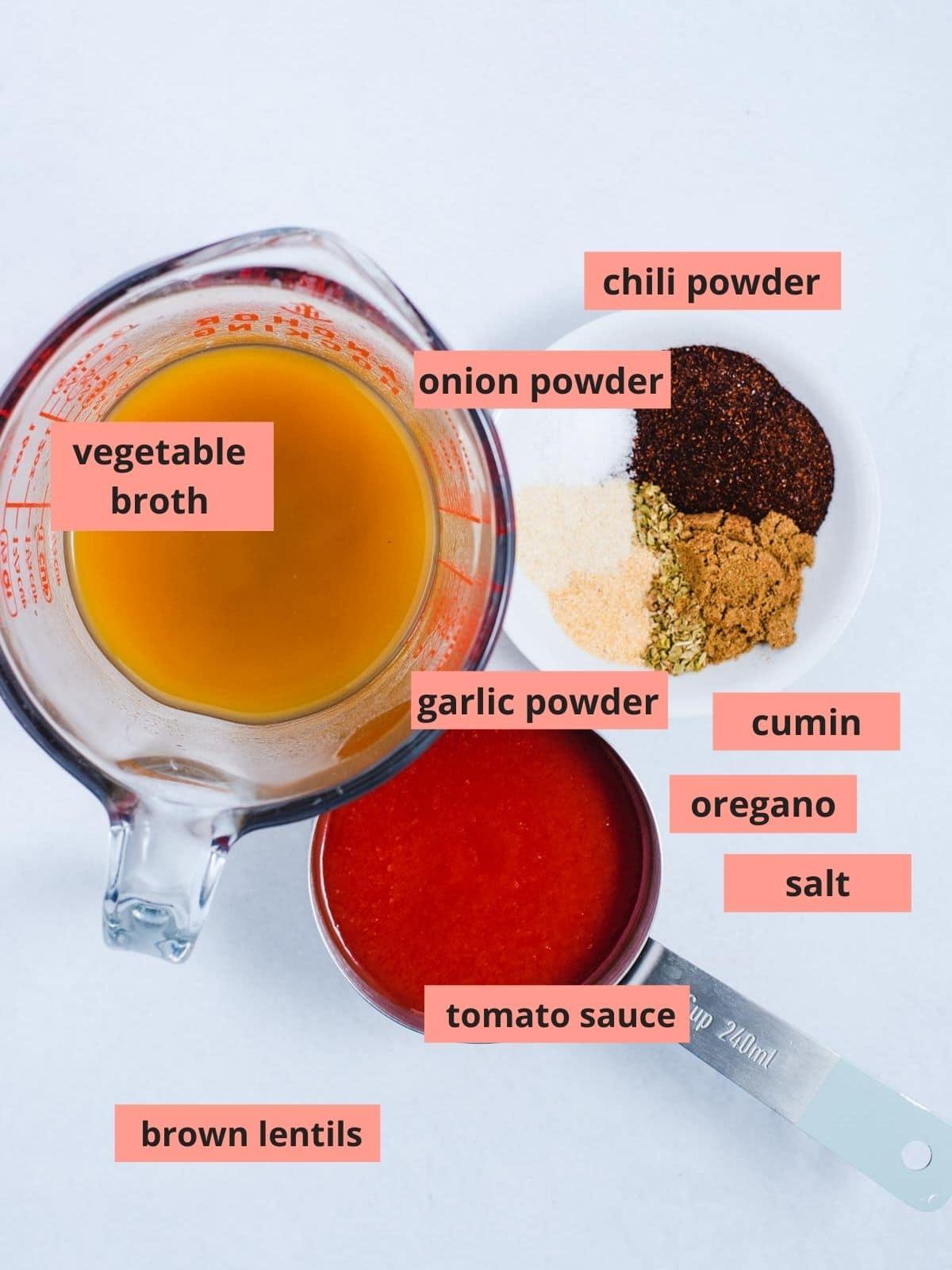 Labeled ingredients used to make lentil tacos
