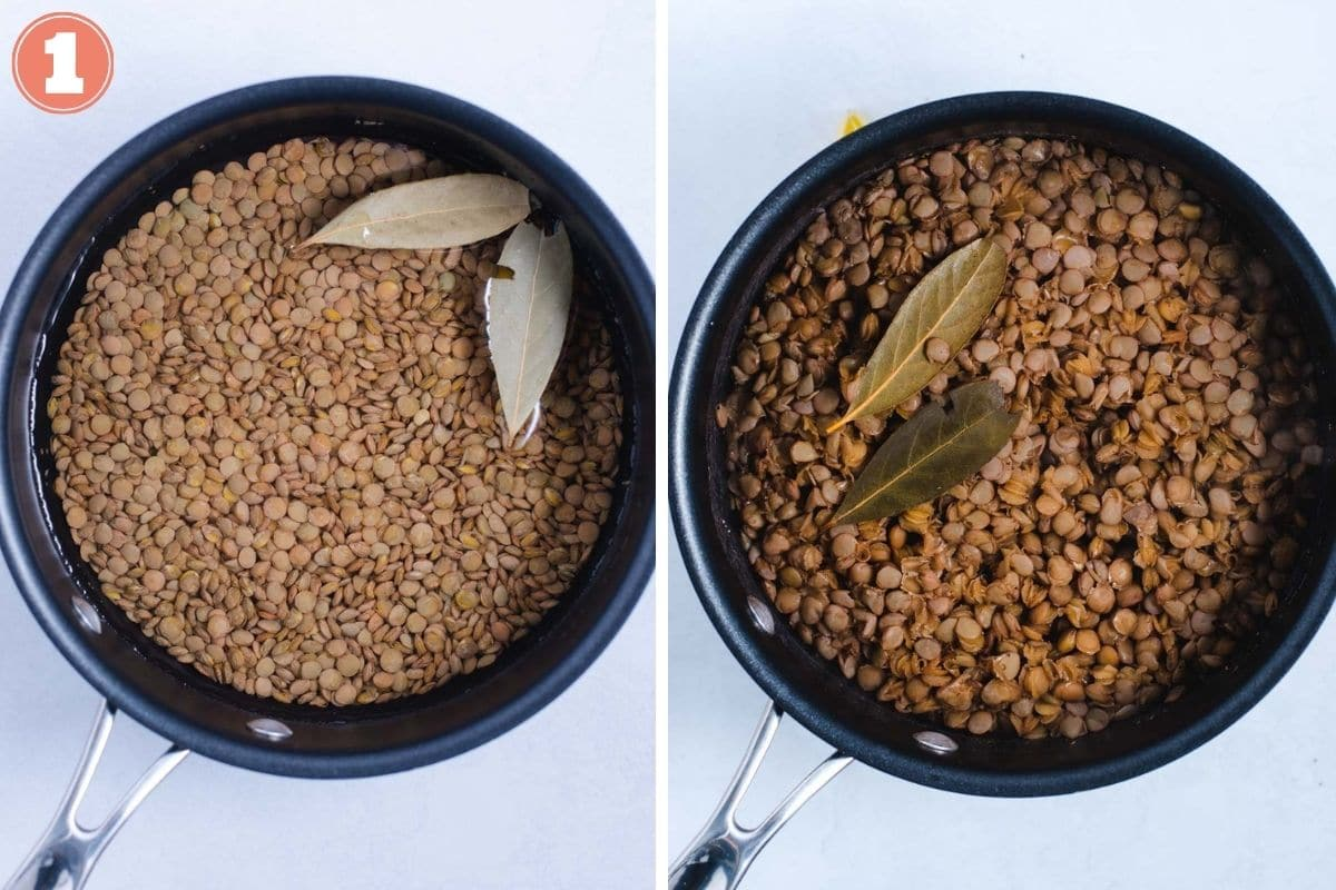 Lentils in sauce pot before and after cooking