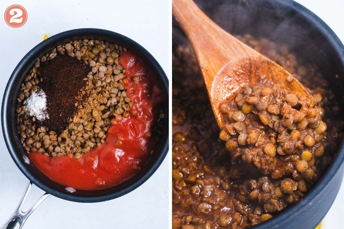 Lentil ingredients in sauce pot before and after stirring together