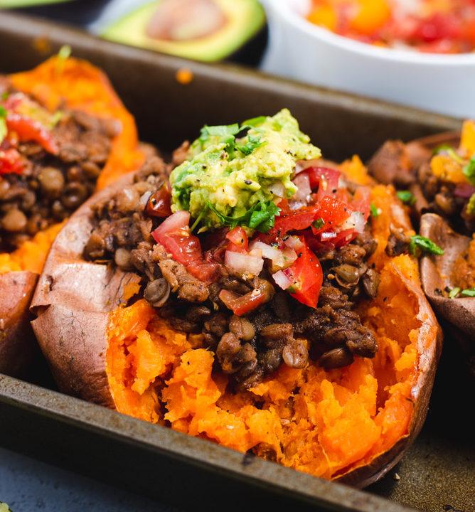 Close up of taco stuffed sweet potato