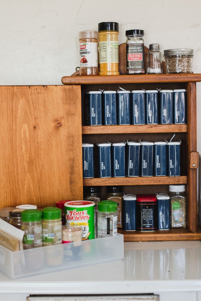 Cabinet filled with spices and seasonings