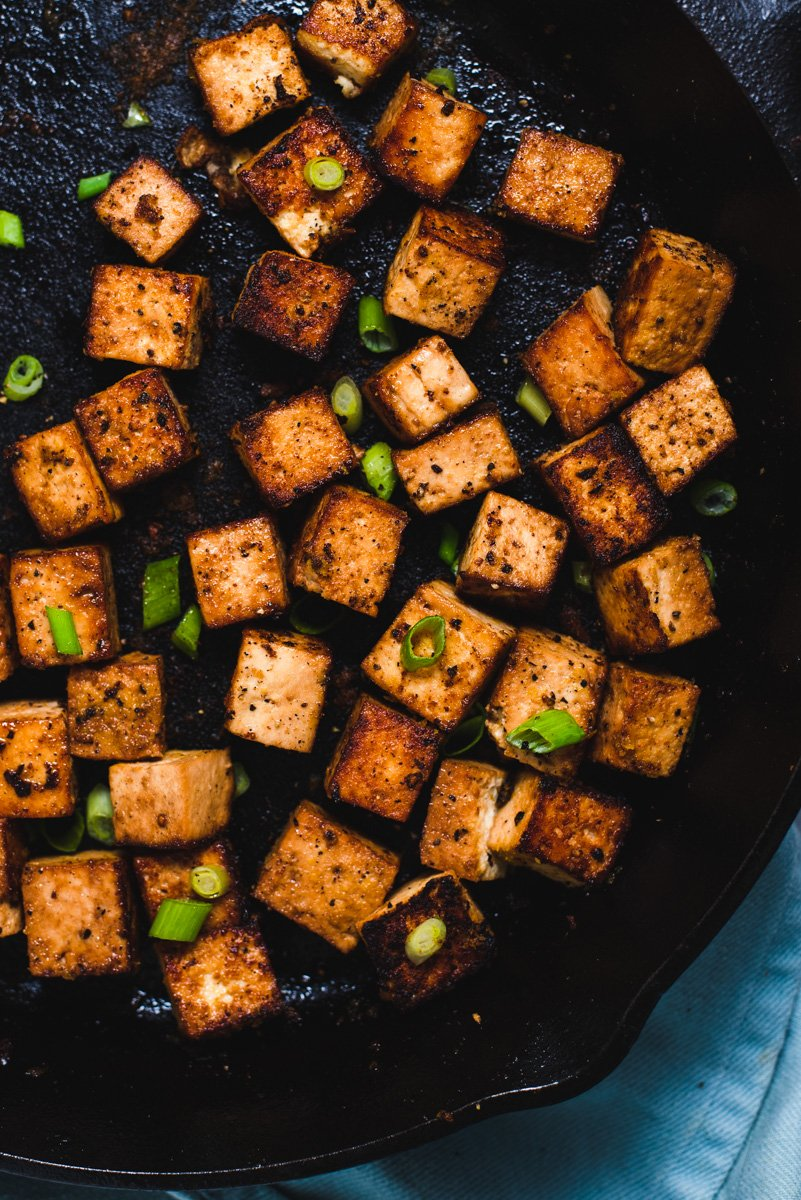 Close up of blackened tofu