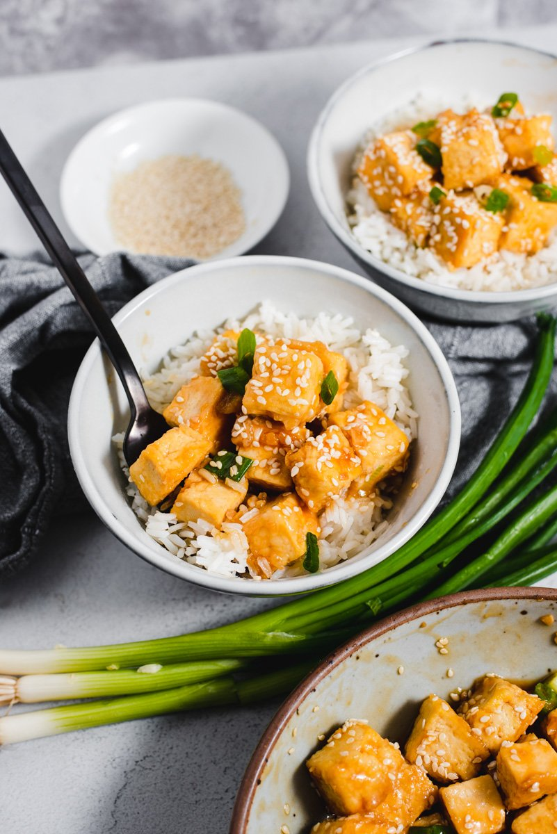 Bowl of tofu and white rice next to green onions, sesame seeds and a large bowl of tofu